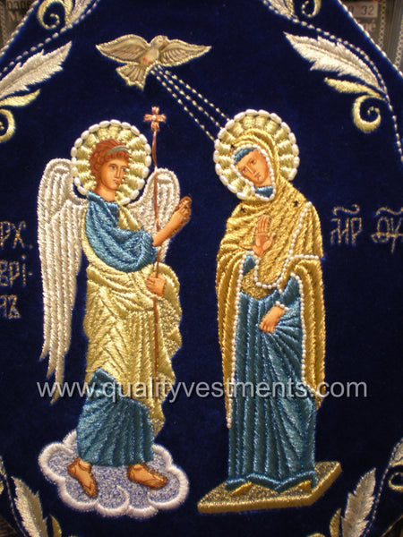 Annunciation Palitza Epigonation Embroidered Blue velvet.