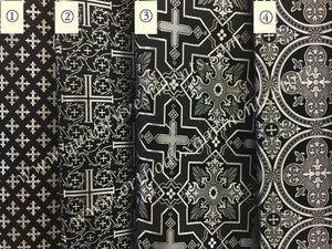 "Black liturgical brocade Fabric for vestments Cross Pattern  59"" 150 cm wide"