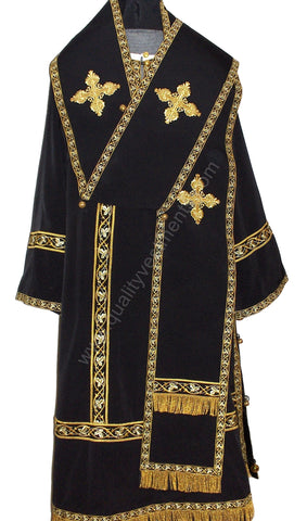 Black Orthodox Bishop's Vestments w White stikhar LIGHTWEIGHT To ORDER