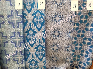 "Blue Liturgical Fabric for Vestments 59"" wide Cross pattern Blue with silver"