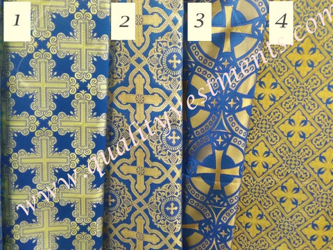 "Blue Gold Nonmetallic Brocade Church Liturgical Vestment 59"" wide Cross Patterns, 4 Varieties"