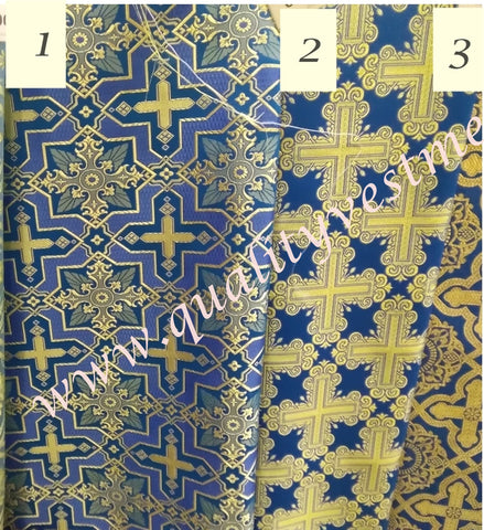 "Blue Gold Nonmetallic Brocade Church Liturgical Vestment 59"" wide Cross Patterns, 3 Varieties"
