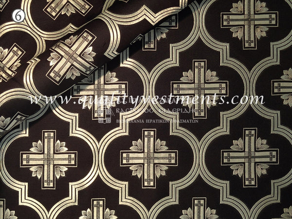 Black Liturgical Fabric Metallic brocade Cross Pattern Nika Silver metallic