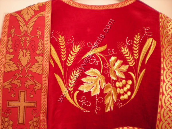 Red Deacon's vestments Grapevine Embroidered with metallic brocade TO ORDER