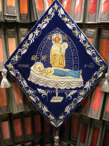 Dormition of the Theotokos Epigonation Palitsa Embroidered Blue velvet.