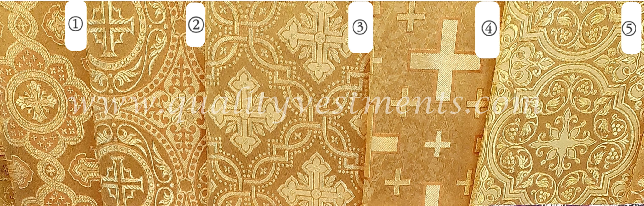"Gold Church brocade Cross pattern Nonmetallic fabric for vestments 59"" w."