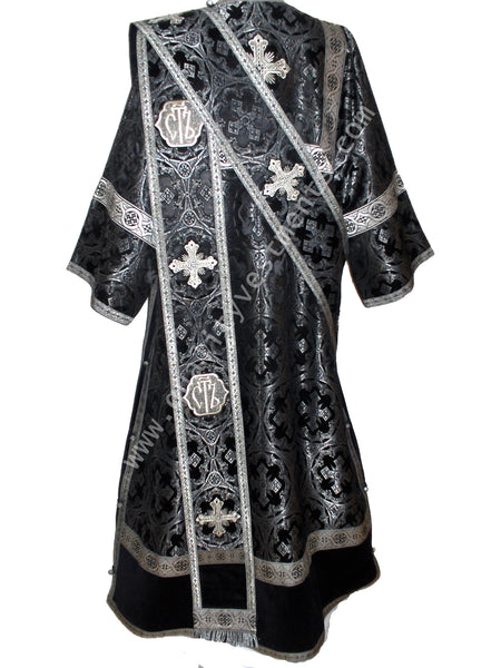 Black ProtoDeacon's Vestments with Holy Svyat Metallic Brocade Deacon TO ORDER