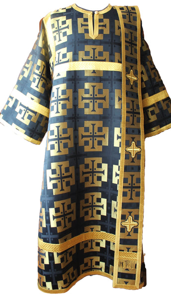 Black Deacon's Vestments Large cross Metallic Brocade Lined TO ORDER