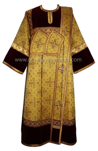 "Gold Deacon's Vestments Metallic Brocade Size M - L back 58"" SHIPS FROM USA!"