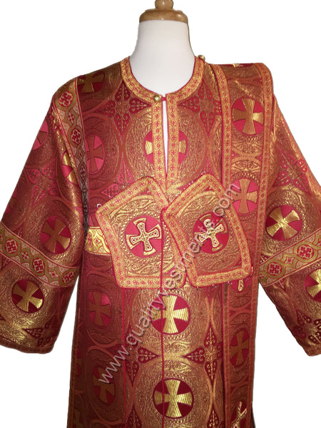 RED Deacon's Vestments Large Cross Metallic Brocade TO ORDER.