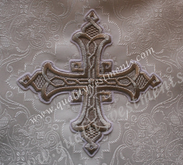 "TO ORDER: Church Liturgical Embroidered Cross ""Yaroslavl"" 6"" (15.5 cm) red maroon green gold black ANY color"