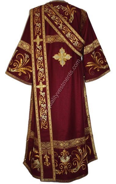 Maroon Antioch Deacon's vestments Dark Red Embroidered LIGHTWEIGHT TO ORDER