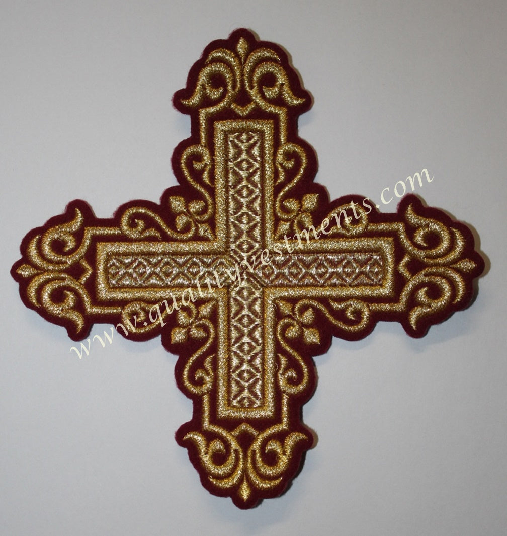 "TO ORDER: Church Liturgical Embroidered Cross 6"" (15.5 cm) red maroon green gold black ANY color"