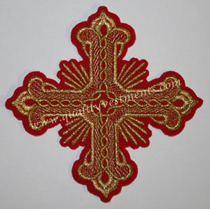 "Vestment Liturgical Sew on Red with Gold Embroidered Cross 4.5"" (11.5 cm)"