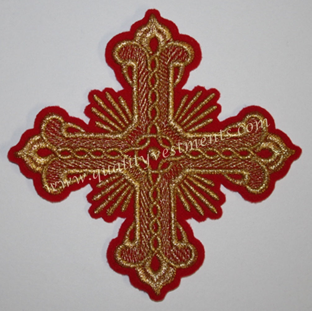 Vestment Liturgical Sew on Red with Gold Embroidered Cross 4.5