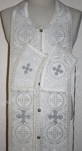 "White Communion Priest Set Stole & Cuff 42 1/2"" 108 cm SHIPS FROM USA!"