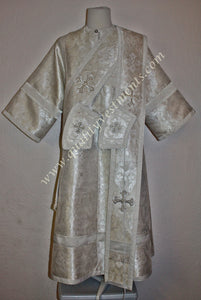 Proto Deacon Russian or Greek Orthodox Vestment  White Silver Greek Brocade