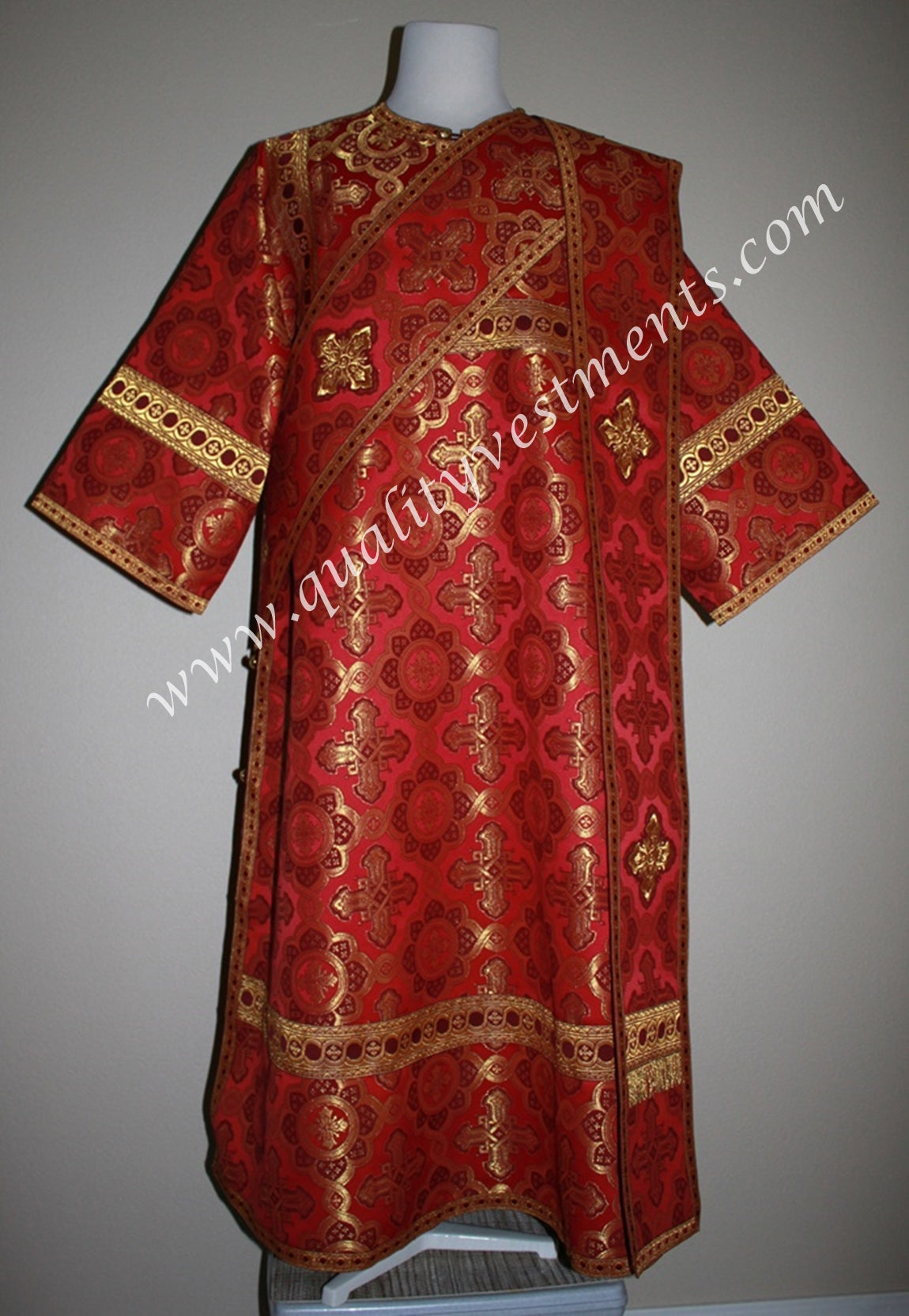 Proto Deacon Byzantine Orthodox Vestment  Metallic Brocade Red and Gold