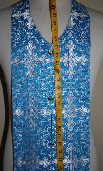 "Blue Stole for travel or Communion Sick Call  Epitrakhilion 48"" 123 cm mid seam"
