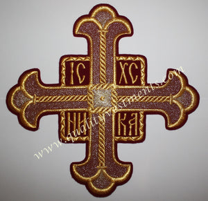 "TO ORDER : Church Single Cross Extra Large Burgundy Maroon Gold 10 1/4"" (26 cm)"