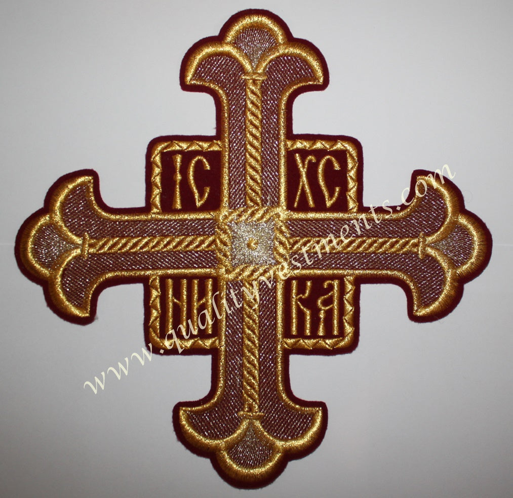 TO ORDER : Church Single Cross Extra Large Burgundy Maroon Gold 10 1/4
