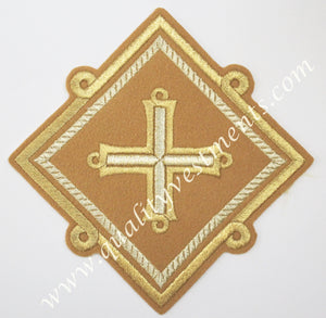 "Liturgical Vestment Embroidered Star Kustodia Light Mustard Gold 6 1/4"" 16 cm"