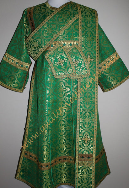 TO ORDER: Deacon Orthodox Vestment Greek Style Metallic Brocade Green Gold