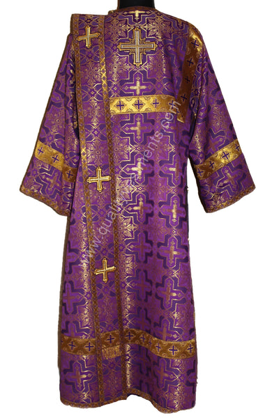 Purple Orthodox Deacon's Vestment Metallic Brocade Stikhar Orar Cuffs TO ORDER!