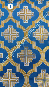 Blue Vestment Brocade Liturgical Fabric Cross pattern Floral design.