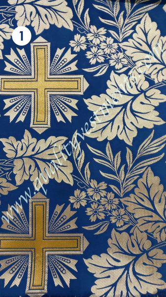 Blue Liturgical Brocade Vestment fabric Cross Pattern Nika Silver metallic.