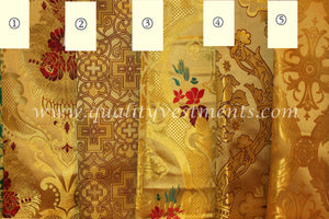 Gold Church Vestment Brocade Red Flowers Cross Pattern Metallic.