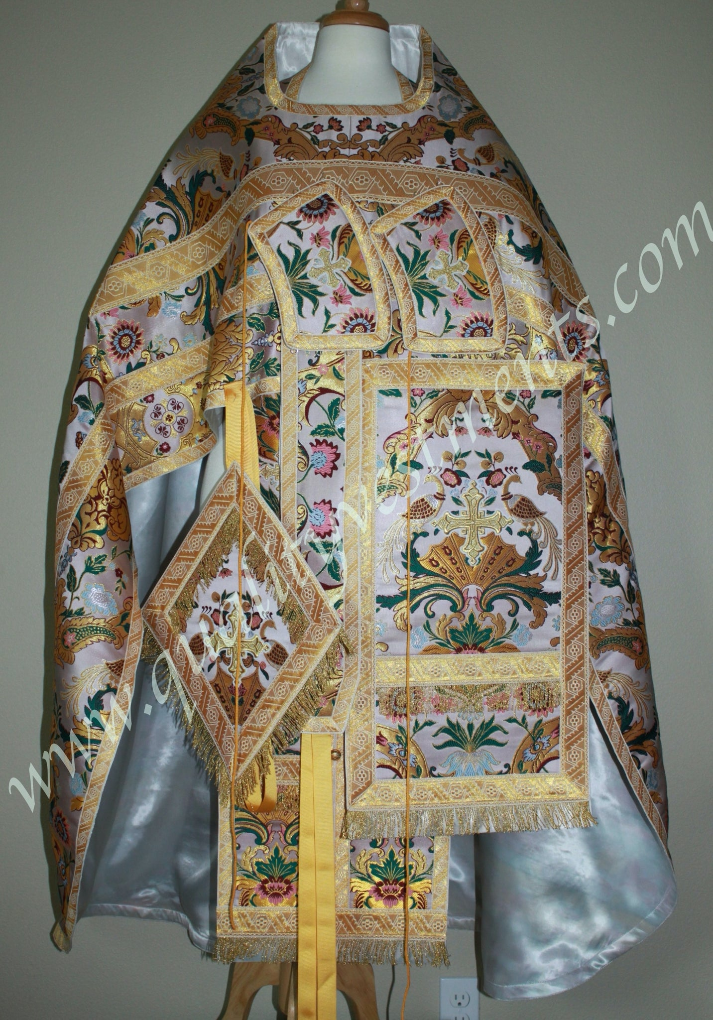 White Multicolored Priest's vestments Birds of Paradise brocade TO ORDER!
