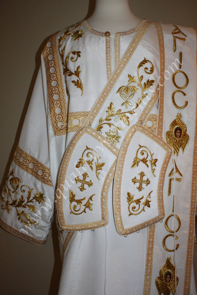White Protodeacon's Deacon's Vestments AGIOC Seraphims Embroidered LIGHTWEIGHT!