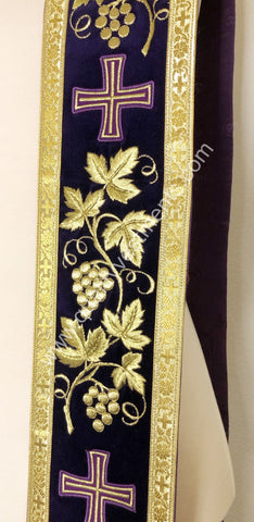 "Purple orar orarion stole Grapevine embroidery 110"" long 4 1/2"" w READY TO SHIP"