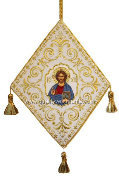Christ Icon of Christ Epigonation Paliza Embroidered White GOLD or SILVER