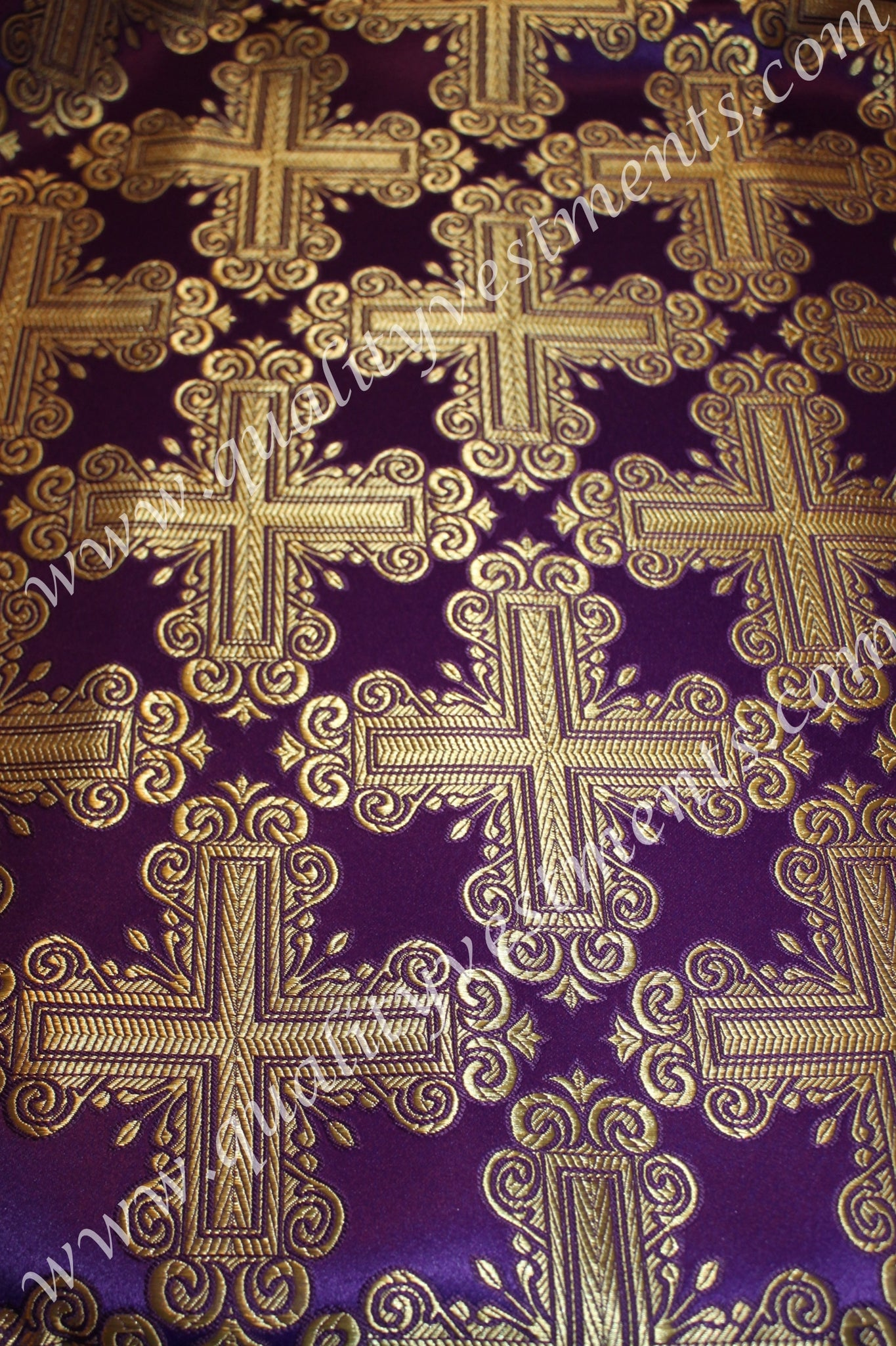 "Purple Gold Nonmetallic Brocade 59"" Wide Liturgical Vestment with Cross Design"