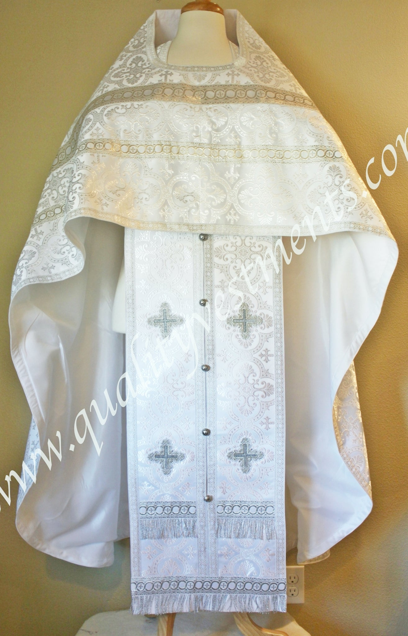 White Priest's Vestments Russian Style Nonmetallic with silver trim TO ORDER!
