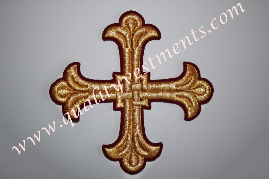 Vestment Cross Maroon Burgundy Gold 6 1/4
