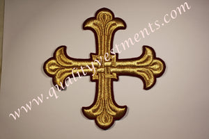 "Vestment Cross Maroon Burgundy Gold 6 1/4"" 16 cm Liturgical Vestment sew on READY TO SHIP"