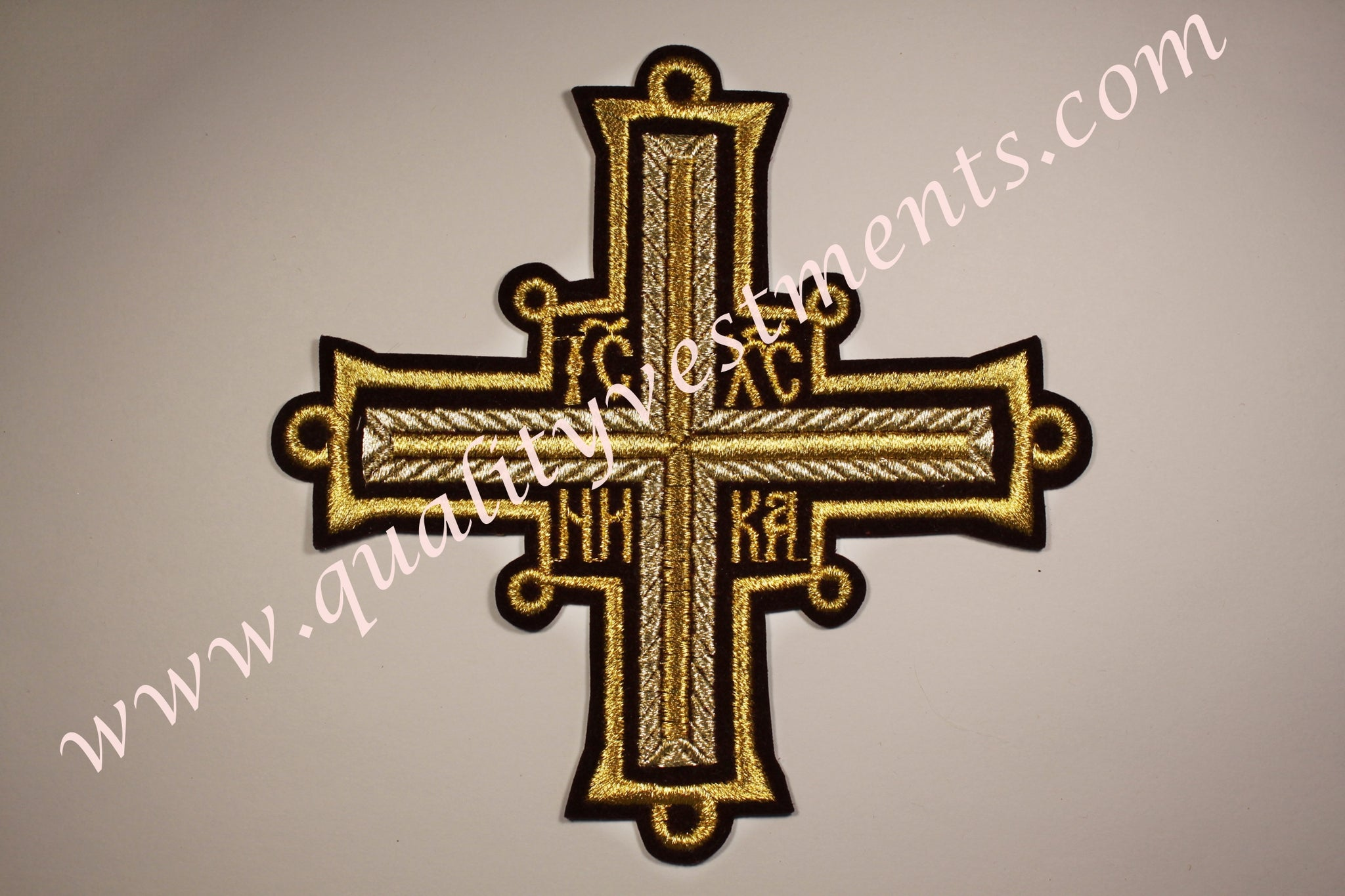 "Sew on Cross NIKA Burgundy Gold  6 1/2"" 17 cm Liturgical Vestment READY TO SHIP from USA"