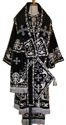 Black Vestments for Orthodox Bishop embroidered Silver or Velvet /Satin TO ORDER