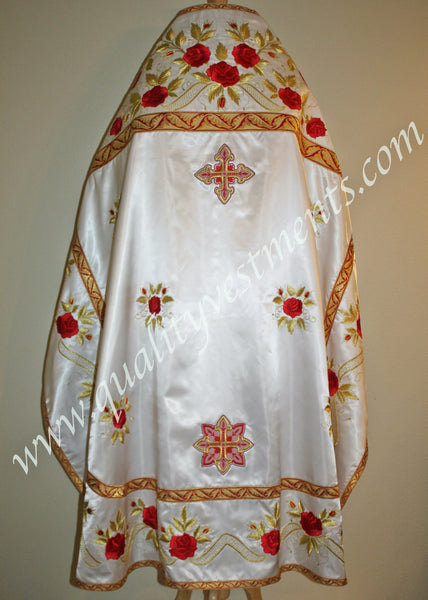 White Paschal Priest's Vestments  roses embroidered in viscose thread LIGHTWEIGHT to ORDER!