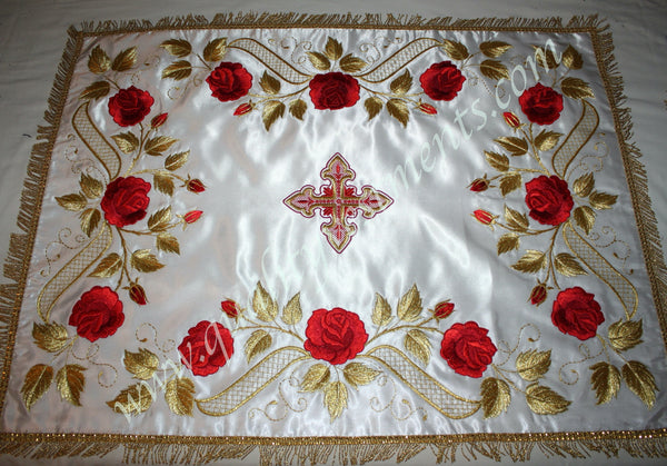 "White Chalice Covers Veils Rose pattern Embroidered 5"" 14 cm square TO ORDER!"