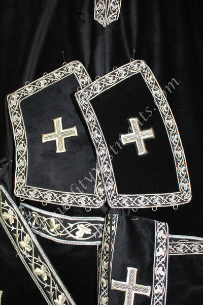Black Greek style vestments with embroidered trim and crosses TO ORDER!