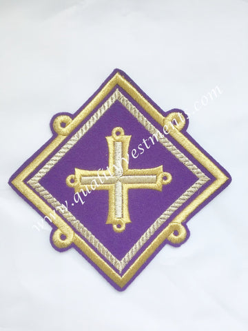 "Star Kustodia Violet Gold Liturgical Vestments sew on embroidered 6"" (15 cm)"