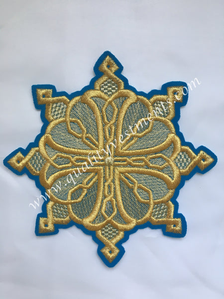 "Liturgical Star Kustodia Cross Blue Gold embroidered sew on 6"" (15 cm)"
