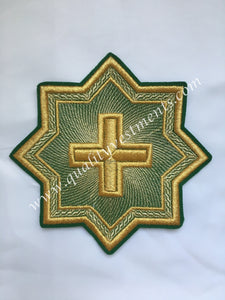 "Star Kustodia Green Gold embroidered for vestments sew on 6"" (15 cm)"