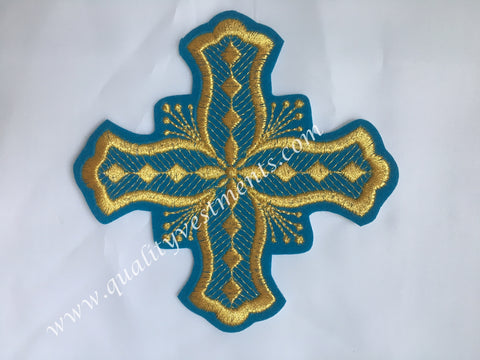 "Cross Blue Gold  Embroidered 4 1/2"" 11 cm Liturgical sew on READY TO SHIP!"