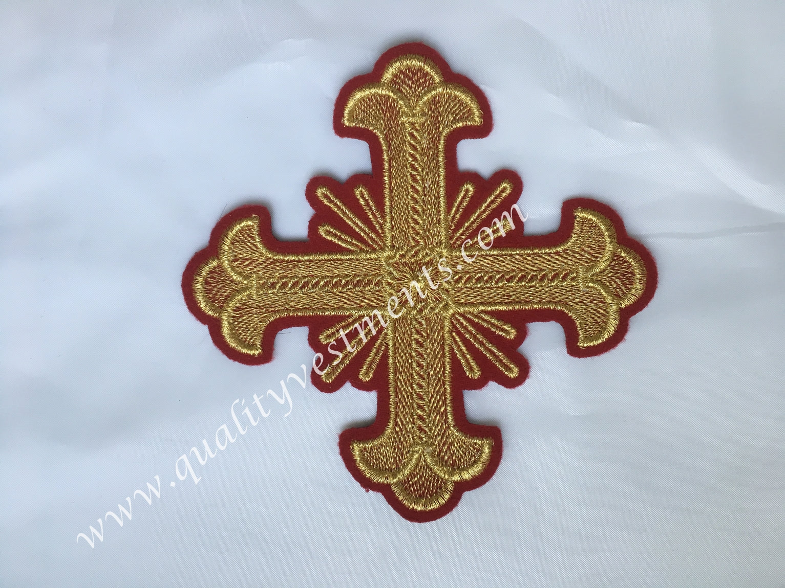 "Cross RED Gold Embroidered 5"" 12 cm Liturgical Vestment sew on READY TO SHIP"