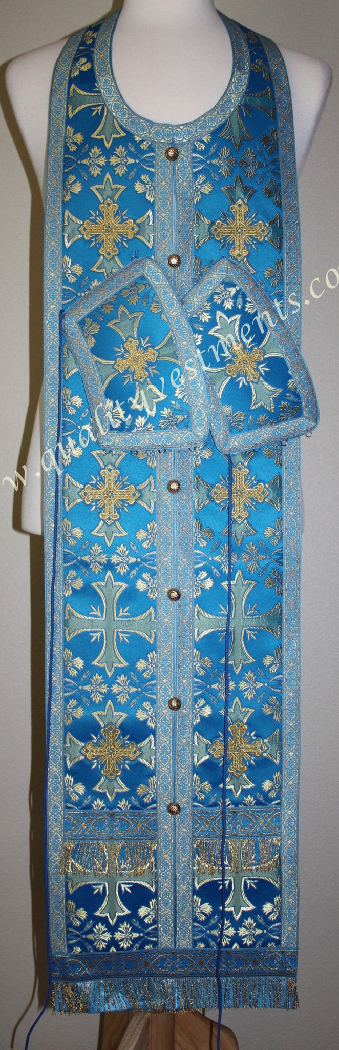 "Blue Communion set Stole and cuffs  43"" 110 cm READY TO SHIP!"